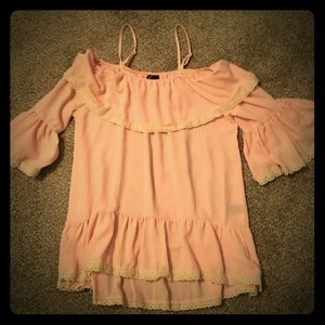 Pink and cream cold shoulder babydoll top